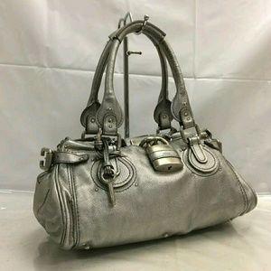 Chloé Paddington silver bag Shoulder Tote Lock Key